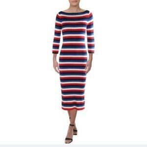 Ralph Lauren Red White Blue Striped Sweaterdress